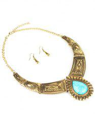 Faux Turquoise Water Drop Jewelry Set - GOLDEN
