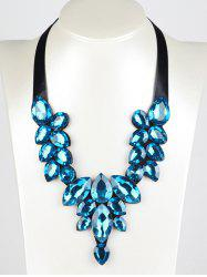 Faux Gem Teardrop Ribbon Necklace