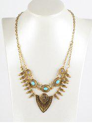 Faux Turquoise Layered Shield Necklace - GOLDEN