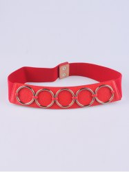 Coat Wear Tiered Matel Ring Buckle Stretch Belt - RED
