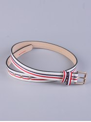PU Multi Color Stripy Pin Buckle Belt - WHITE
