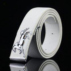 Polished Horse Hidden Pin Buckle PU Belt - WHITE