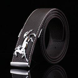 Polished Horse Hidden Pin Buckle PU Belt - COFFEE