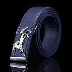 Polished Horse Hidden Pin Buckle PU Belt - PURPLISH BLUE