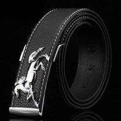 Polished Horse Hidden Pin Buckle PU Belt -