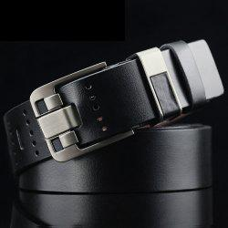 Casual Pin Buckle PU Geometric Emboss Belt - BLACK