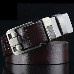 Casual Pin Buckle PU Geometric Emboss Belt - COFFEE