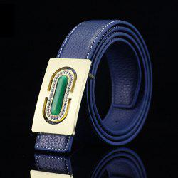 Retro Rectangle Buckle PU Rhinestone Emboss Belt