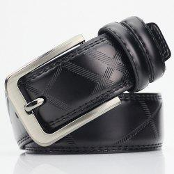 Pin Buckle PU Casual Plaid Belt - BLACK