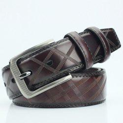 Pin Buckle PU Casual Plaid Belt - COFFEE