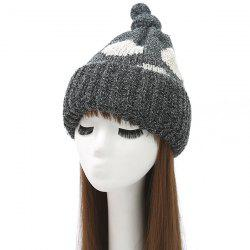Knot Top Flanging Dot Print Knitted Beanie - BLACK