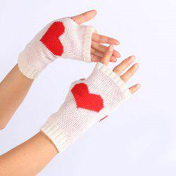 Pair of Heart Knitted Fingerless Gloves -