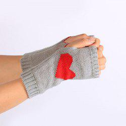 Pair of Heart Knitted Fingerless Gloves