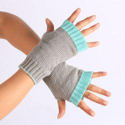 Double Color Knitted Fingerless Gloves - TIFFANY BLUE