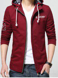 Stand Collar Detachable Hooded Zip-Up Jacket - WINE RED M