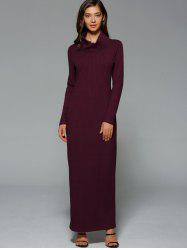 Maxi Slit Ribbed Long Sleeve Winter Dress - WINE RED