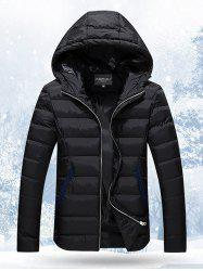 Hooded Stand Collar Thicken Zip-Up Quilted Jacket -