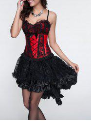 Cami Laciness Corset + Asymmetrical Skirt Twinset - RED