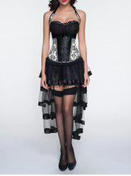 Halter Printed Corset + Fringed Asymmetrical Skirt Twinset - BLACK XL