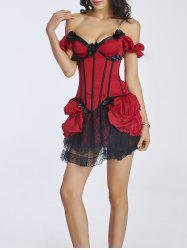 Bowknot Design Corset + Lace Mini Skirt Twinset - RED