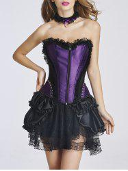 Zippered Corset + Patchwork Lace Skirt Twinset