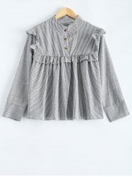 Plus Size Flounced Pinstripe Shirt