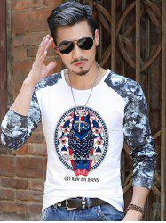 Owl Pattern Floral Sleeve T-Shirt