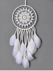 Circulaire Feathers Lace Net Dreamcatcher Multipurpose Keyring - Blanc