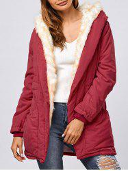 Double Pocket Parka Long Winter Padded Coat Jacket with Hood - RED