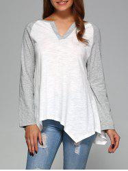 Raglan Sleeve Asymmetrical T-Shirt - GREY AND WHITE 2XL