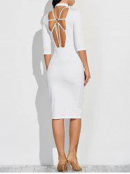 Cutout Fitted Midi Dress with Sleeves - WHITE