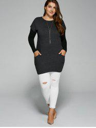 Plus Size Pockets Design Twinset T-Shirt - BLACK GREY 4XL