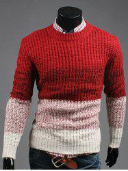 Contrast Color Striped Crew Neck Texture Sweater - RED XL