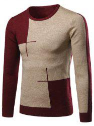 Color Matching Long Sleeve Crew Neck Sweater - WINE RED 2XL