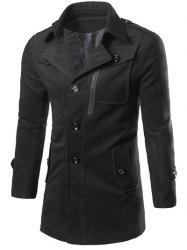 Epaulet Design Zippered Single Breasted Coat