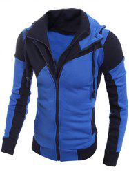 Drawstring Contrast Paneled Double Zip Hoodie - BLUE