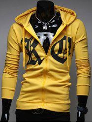 Pocket Front Zip Up Drawstring Graphic Hoodie -
