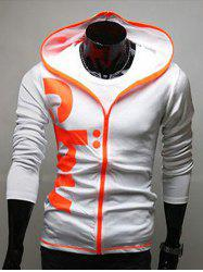 Slim Fit Contrast Zip Graphic Hoodie - WHITE