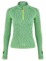 Half-zip Heathered Topstitched Long Sleeve Gym Top - GREEN