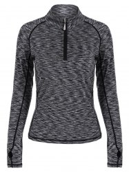 Half-zip Heathered Topstitched Long Sleeve Gym Top - GRAY
