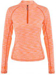 Half Zip Heathered Topstitched Running T-Shirt - ORANGEPINK