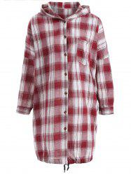 Hooded Drawstring Buttoned Plaid Blouse - DEEP RED ONE SIZE