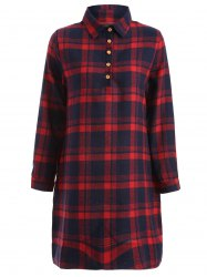 Long Sleeve Plaid Shift Casual Shirt Dress -