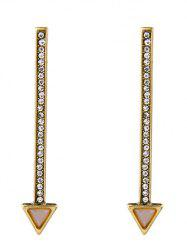 Rhinestone Faux Gemstone Triangle Drop Earrings -
