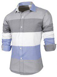 Contrast Color Striped Long Sleeve Shirt - GRAY 2XL