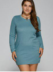 Plus Size Pockets Design Mini Dress
