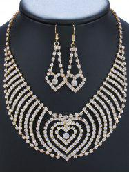 Rhinestoned Heart Necklace and Earrings - GOLDEN