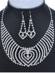 Rhinestone Heart Necklace and Earrings -