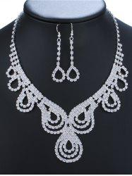 Rhinestone Water Drop Necklace and Earrings
