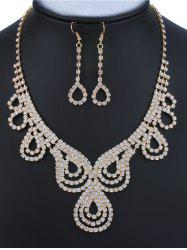 Rhinestone Water Drop Jewelry Set